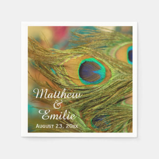 Peacock Feathers Wedding Napkins Disposable Serviettes