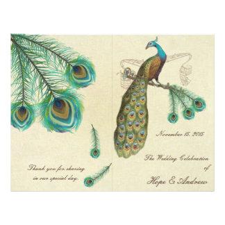 Peacock Feathers Wedding Program 2 21.5 Cm X 28 Cm Flyer