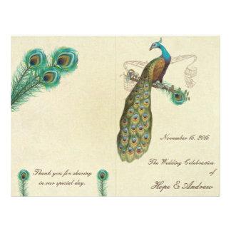 Peacock Feathers Wedding Program 3 21.5 Cm X 28 Cm Flyer