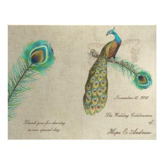 Peacock Feathers Wedding Program 4 21.5 Cm X 28 Cm Flyer