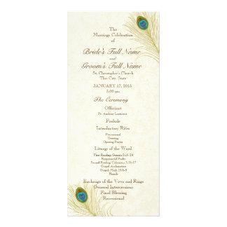 Peacock Feathers Wedding Program Rack Card