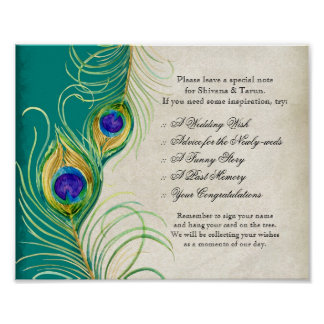 Peacock Feathers Wedding Reception Sign Poster