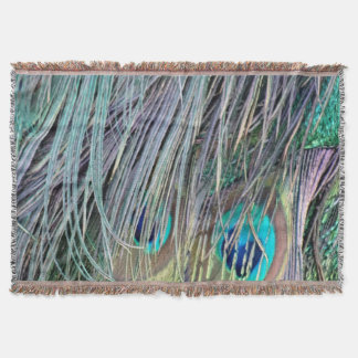 Peacock Feathers Wild Colors Throw Blanket