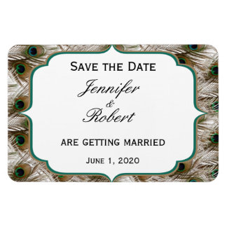 Peacock Feathers with a Double Frame Save the Date Rectangular Photo Magnet