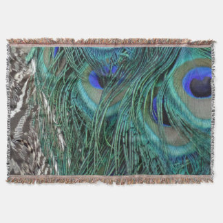 Peacock Feathers With Big Blue Eyes Throw Blanket
