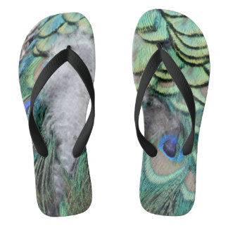 Peacock Feathers With Blue Eyes Flip Flops