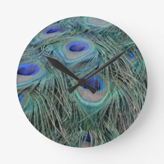 Peacock Feathers With Eye Spots Round Clock