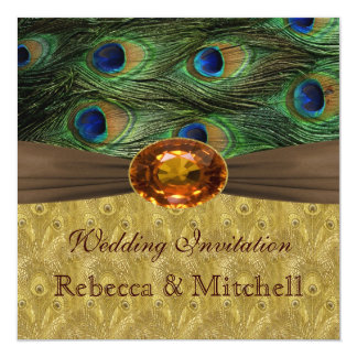 Peacock feathers with faux amber Wedding Card