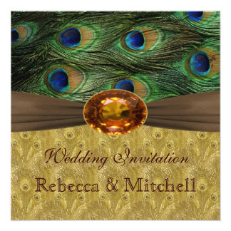 Peacock feathers with faux amber Wedding Personalized Invite