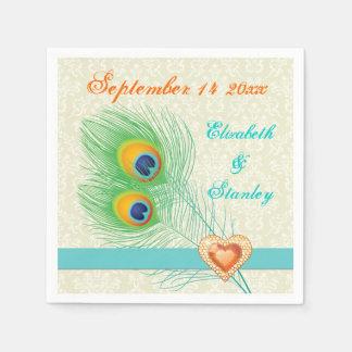 Peacock feathers with orange jewel heart wedding paper napkins