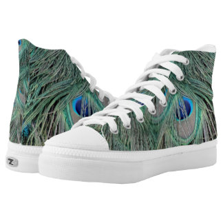Peacock Feathers With Pick Boo Eyes High Tops