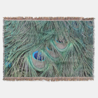 Peacock Feathers With Pick Boo Eyes Throw Blanket