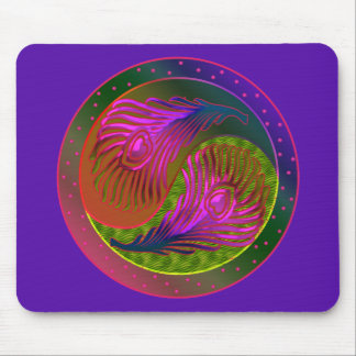 Peacock Feathers Yin Yang 2 Mouse Mat