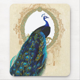 Peacock & Filigree Frame Mouse Pad