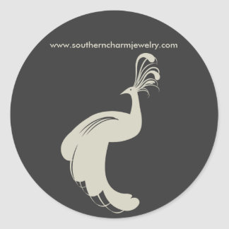 PEACOCK FLOURISH in TAN/GRAY ROUND STICKER