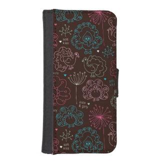 peacock flower india wallpaper vintage iPhone SE/5/5s wallet case
