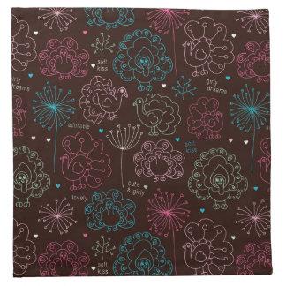 peacock flower india wallpaper vintage napkin
