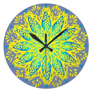 Peacock Flower Mandala Wall Clock