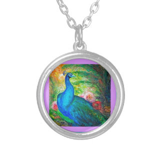 Peacock Flowers Garden by Sharles Silver Plated Necklace