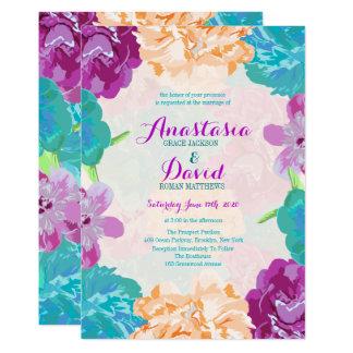 Peacock Flowers Wedding Invitation