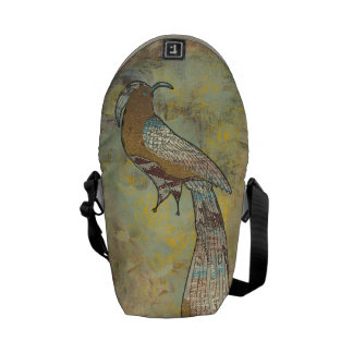Peacock folk art collage courier bags