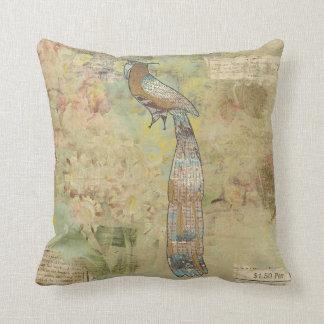 Peacock folk art collage throw pillows