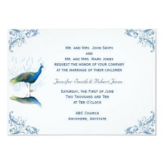 """Peacock Garden in Blue White Wedding Invitation 5"""" X 7"""" Invitation Card"""