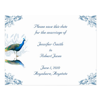 Peacock Garden Save the Date Post Cards
