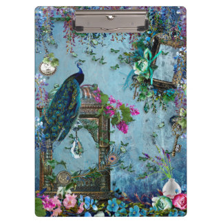 Peacock Garden wisteria blue lavender pink Clipboard