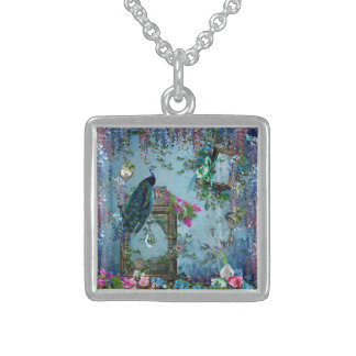 Peacock Garden wisteria blue lavender pink Sterling Silver Necklace