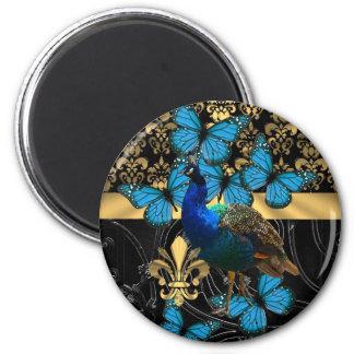 Peacock gold damask fridge magnets