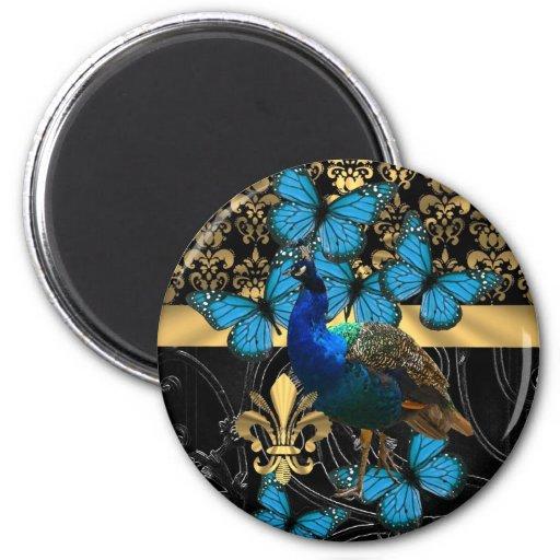 Peacock & gold damask fridge magnets