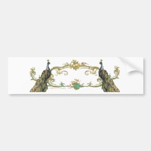 Peacock & Gold Filigree Bumper Sticker
