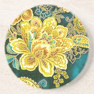 Peacock Gold Vintage Paisley Floral Fine Art Sandstone Coaster