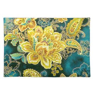 Peacock Gold Vintage Paisley Floral Fine Art Placemat