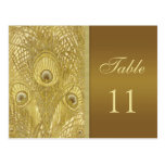 Peacock golden feathers Table Number Postcards
