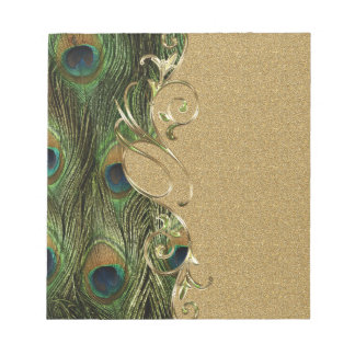 Peacock Golden Swirling Ornament Template Notepad