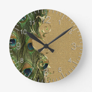 Peacock Golden Swirling Ornament Template Round Clock