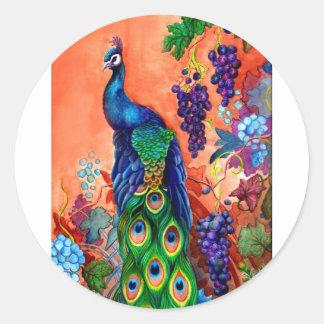 Peacock Grape Artwork Classic Round Sticker