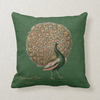 Peacock Green Emerald 55th Wedding Anniversary Cushion
