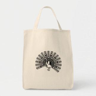 peacock grocery tote bag
