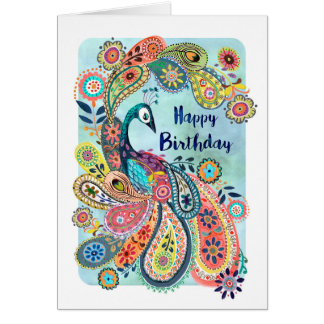 Peacock Happy Birthday | Greeting Card