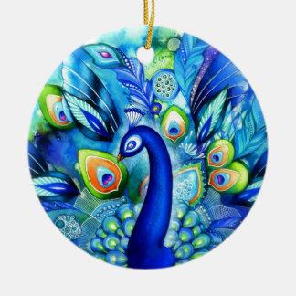 Peacock in Full Bloom Christmas Ornament