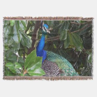 Peacock In Magnolias Throw Blanket