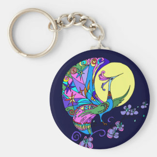 Peacock in Moonlight Basic Round Button Key Ring
