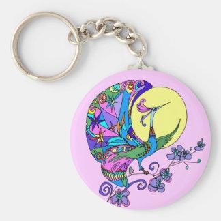 Peacock in Moonlight Key Chain