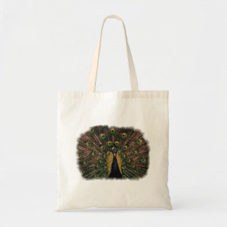 Peacock in Slightly Subdued Colors Budget Tote Bag