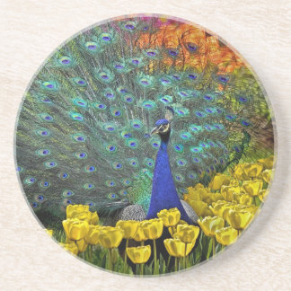 Peacock in Spring Garden #1 Coaster