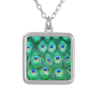 Peacock Ink Square Pendant Necklace