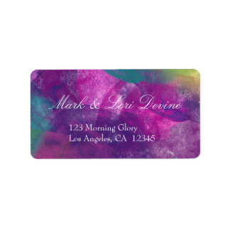 Peacock inspired watercolors address label